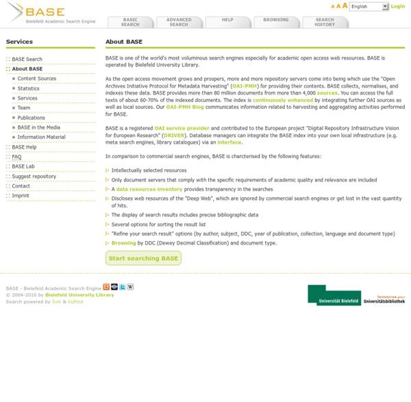 BASE : moteur de recherche de ressources en open access