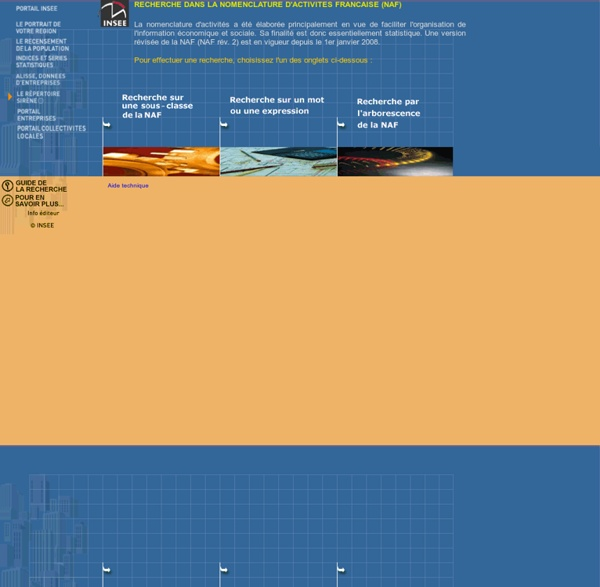 Recherche code NAF - page d'accueil