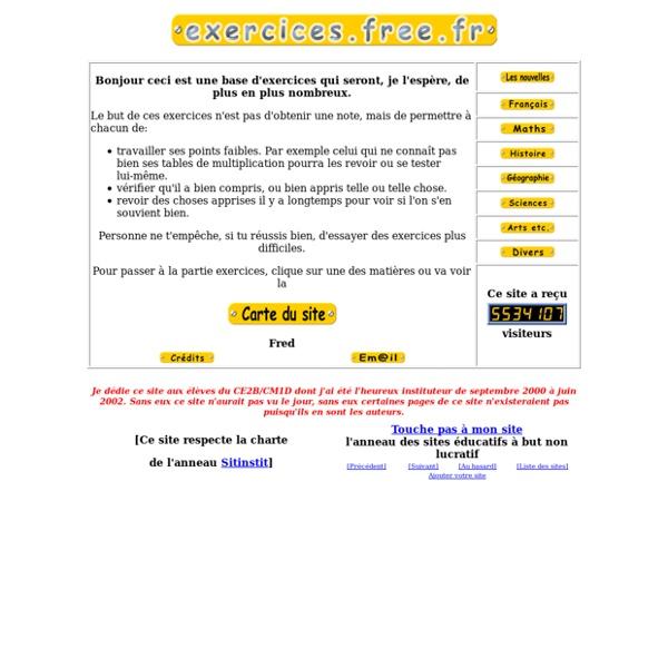 Bienvenue sur http://exercices.free.fr !