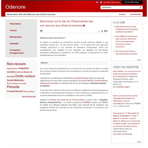 Bienvenue sur le site de l'Observatoire des non-recours aux droits et services