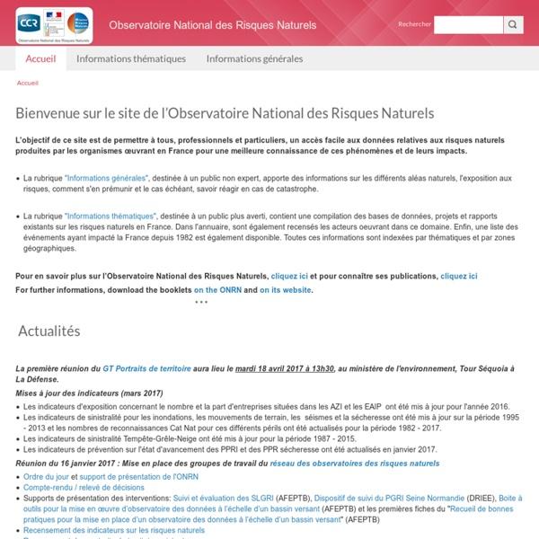 Bienvenue sur le site de l'Observatoire National des Risques Naturels