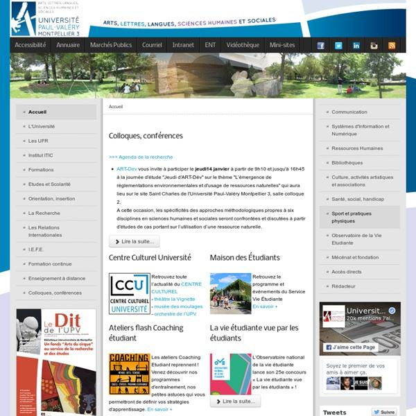 Université Paul-Valéry MONTPELLIER 3 - Accueil
