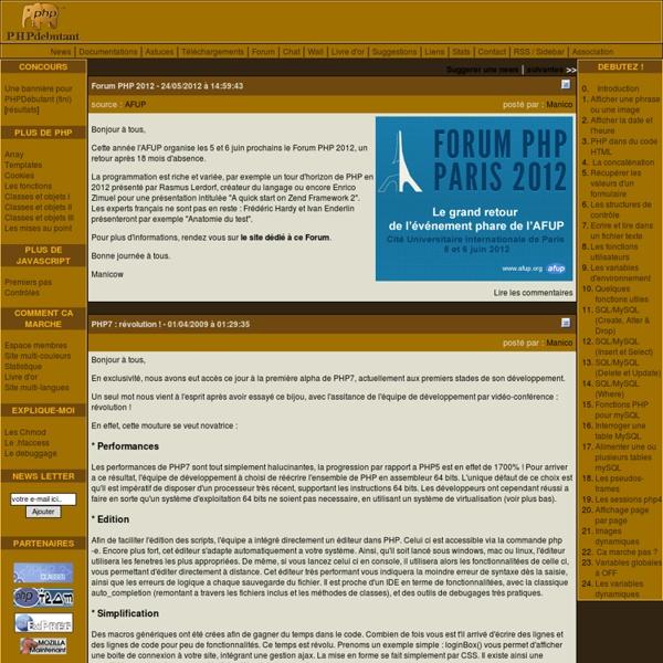 Bienvenue sur PHP Débutant