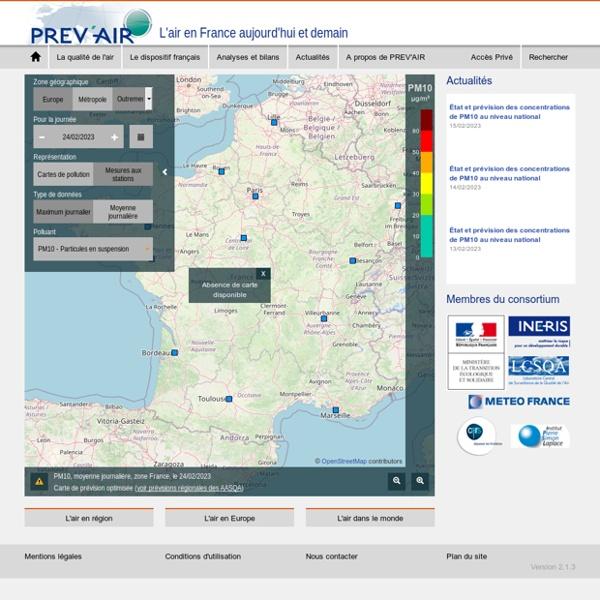 PREV'AIR (prévision sur 3j de qualité de l'air) CNRS & Météo-France