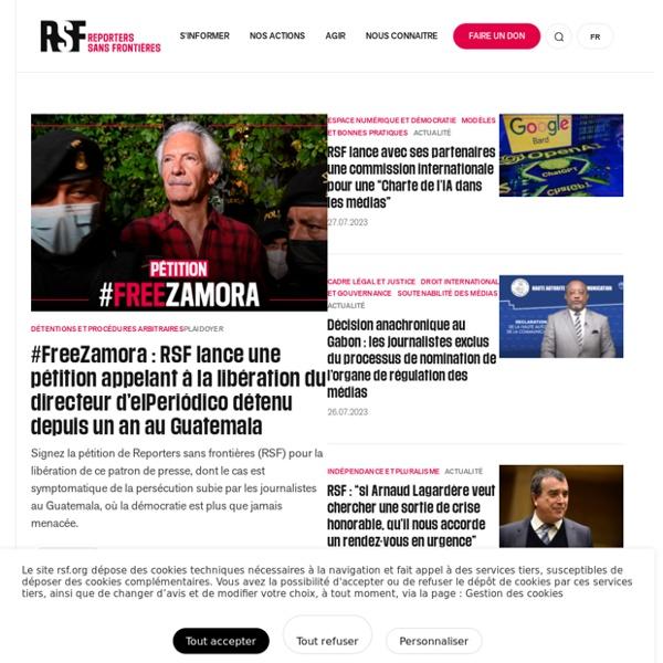 Bienvenue sur le site de Reporters sans frontières