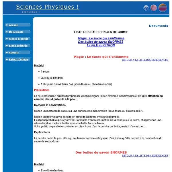 Expériences de chimie