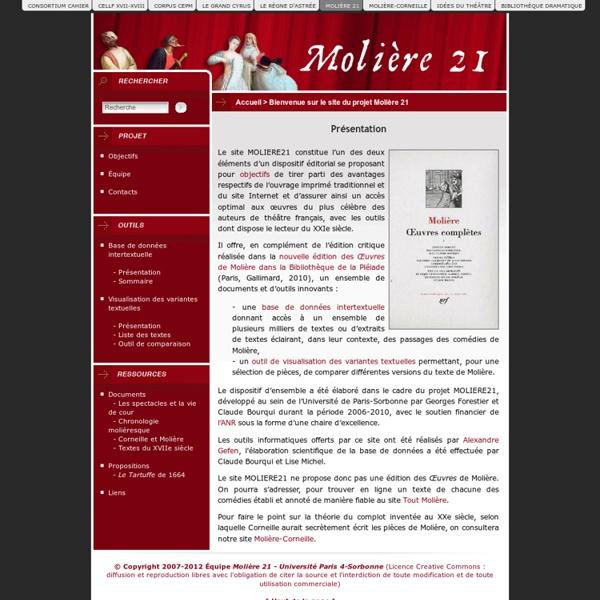 Bienvenue sur le site du projet Molière 21