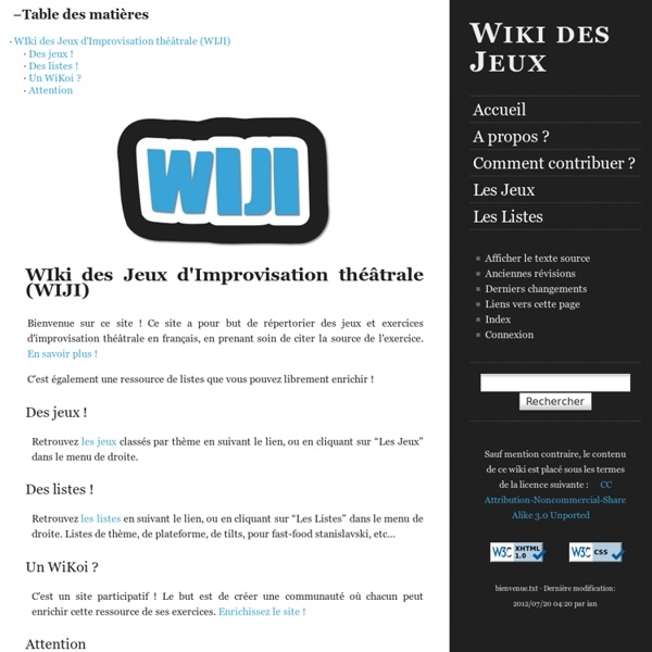 Wiki des Jeux d'improvisation