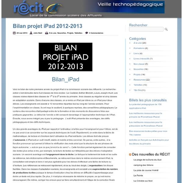 Bilan projet iPad 2012-2013