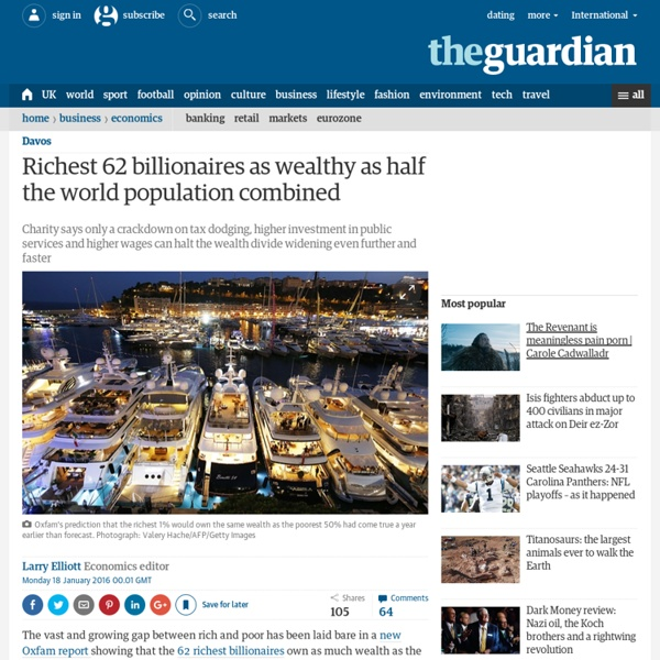Richest 62 people as wealthy as half world's population combined