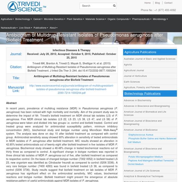 Multidrug Resistant Isolates of Pseudomonas Aeruginosa
