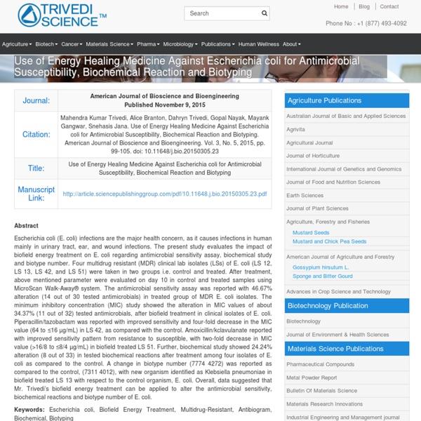Antimicrobial & Biotyping Analysis of Escherichia Coli