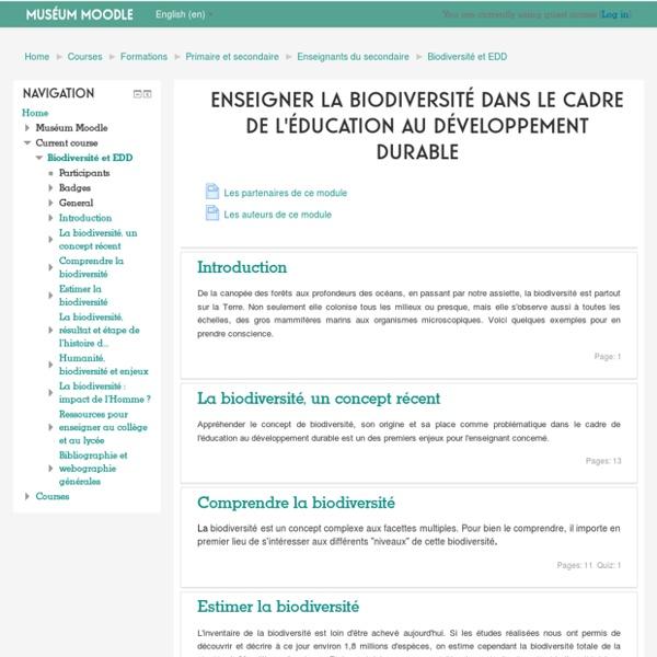 Cours: Enseigner la biodiversité dans le cadre de l'éducation au développement durable