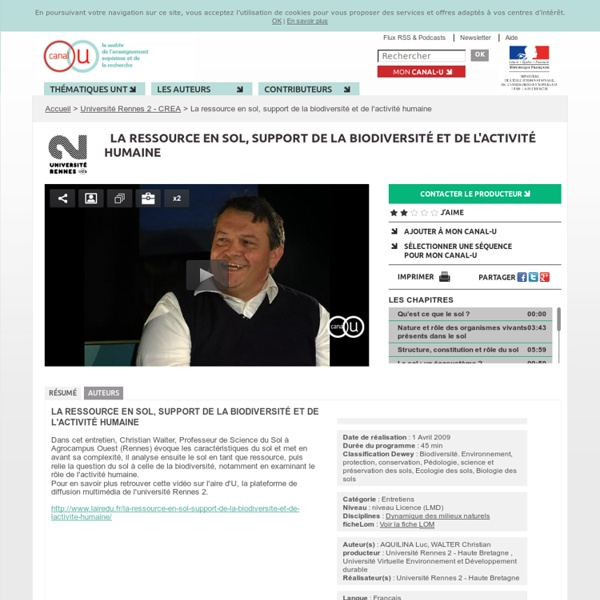 La ressource en sol, support de la biodiversité et de l'activité humaine - Université Rennes 2 - CREA