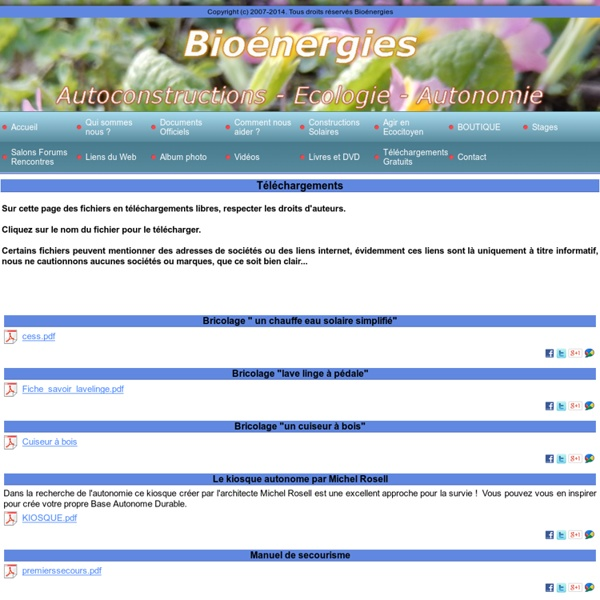 Autoconstructions - Écologie - Autonomie - Bioénergies - Fiches pratiques à télécharger