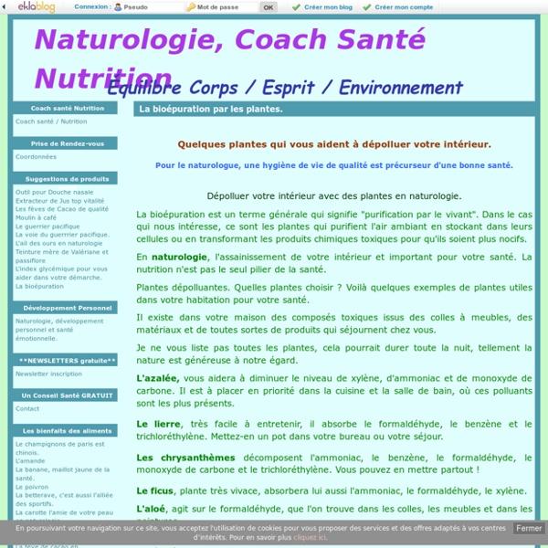 La bioépuration par les plantes. - Naturologie, Coach Santé Nutrition