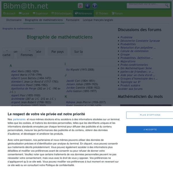 Biographie de mathématiciens