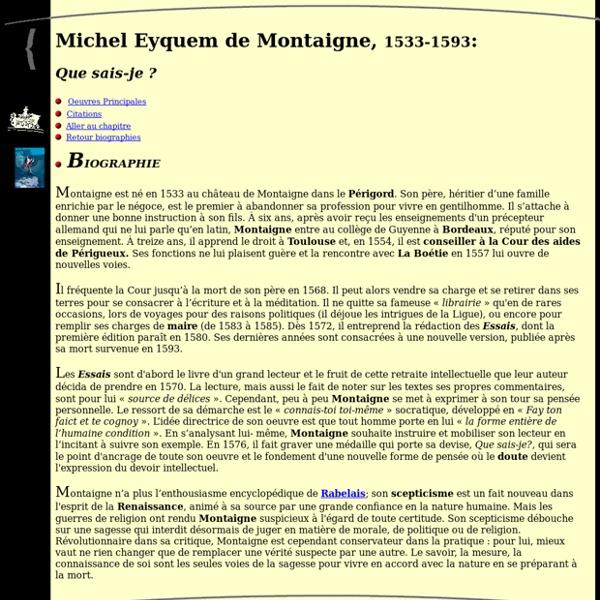 Tous les savoirs du monde : Biographie de Michel Eyquem de Montaigne