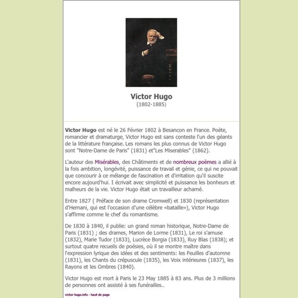 Biographie, oeuvres de victor hugo