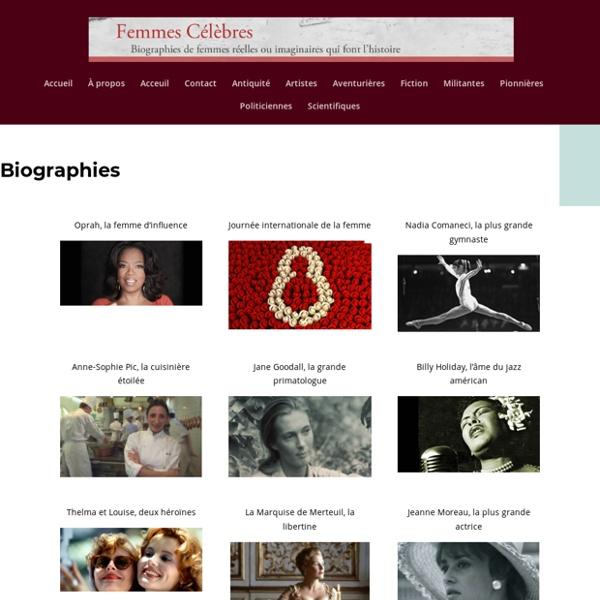 Femmes célèbres - Biographies de femmes réelles ou imaginaires qui font l'Histoire