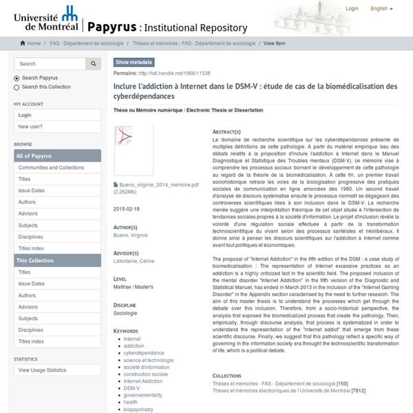Inclure l'addiction à Internet dans le DSM-V : étude de cas de la biomédicalisation des cyberdépendances