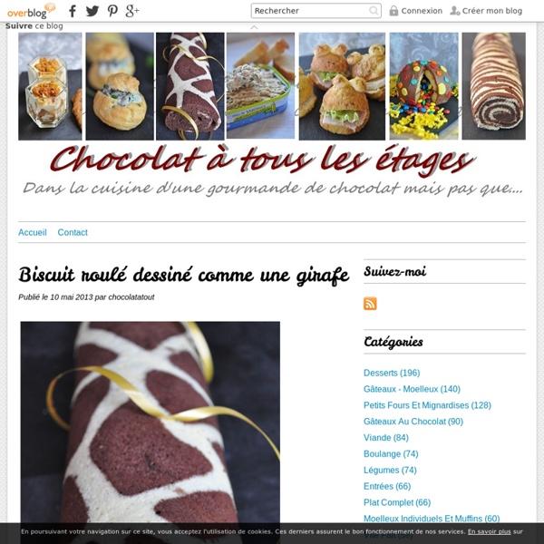 Biscuit roulé dessiné comme une girafe - Blog cuisine avec du chocolat ou Thermomix mais pas que