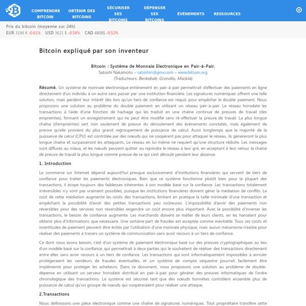Bitcoin expliqué par son inventeur – Bitcoin.fr
