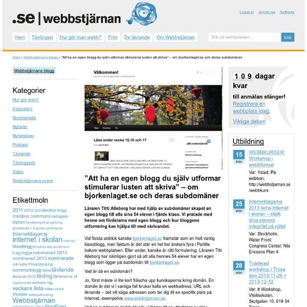 """""""Att ha en egen blogg du själv utformar stimulerar lusten att skriva"""" – om bjorkenlaget.se och deras subdomäner"""