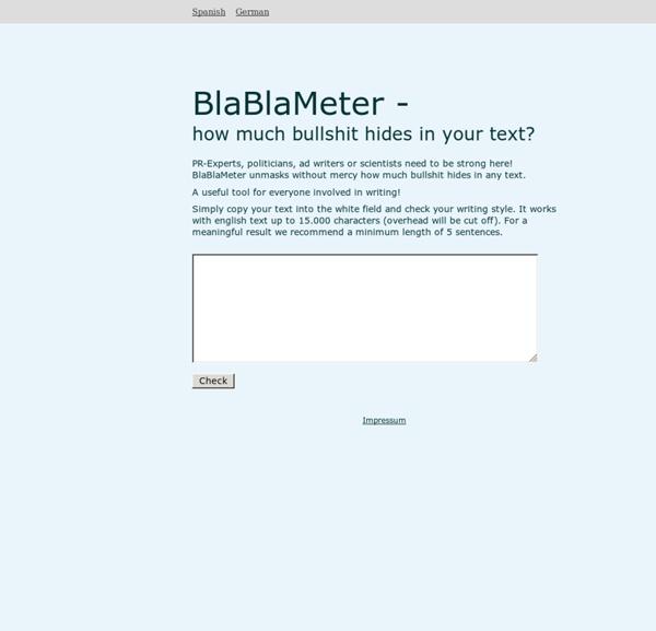 BlaBlaMeter - Bullshit detection tool