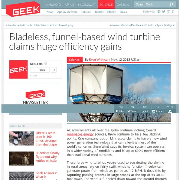 Bladeless, funnel-based wind turbine claims huge efficiency gains