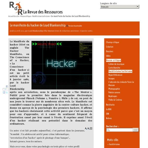 Le manifeste du hacker de Loyd Blankenship