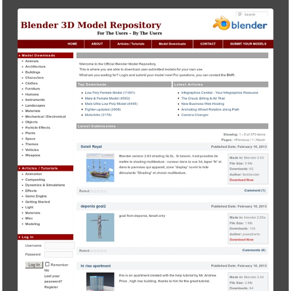 The Official Blender Model Repository - Free Blender Resources