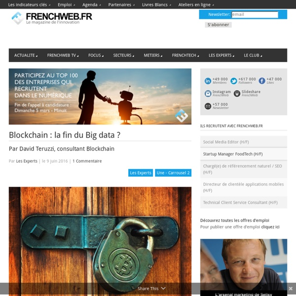 Blockchain : la fin du Big data ?