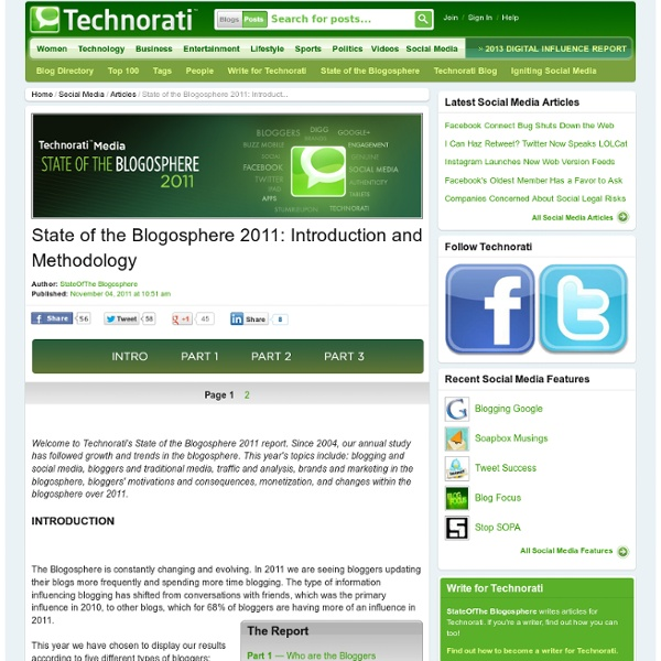 State of the Blogosphere 2011: Introduction and Methodology - Technorati Blogging