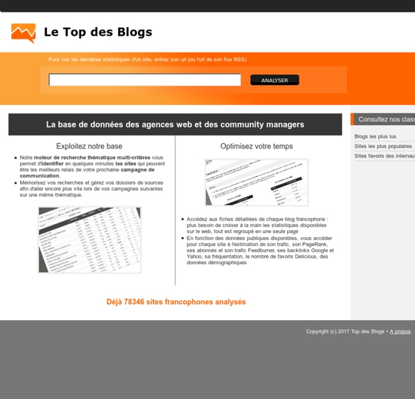 Top des Blogs, Statistiques Blogs, Blog Marketing