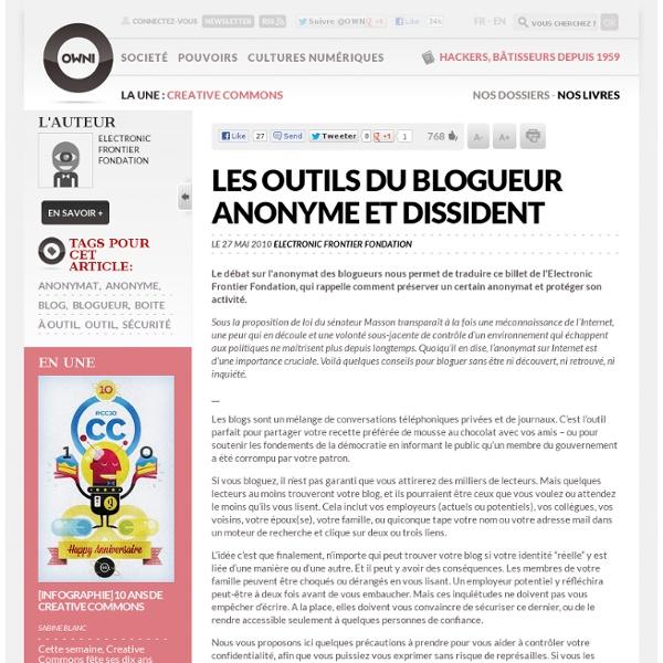 Les outils du blogueur anonyme et dissident