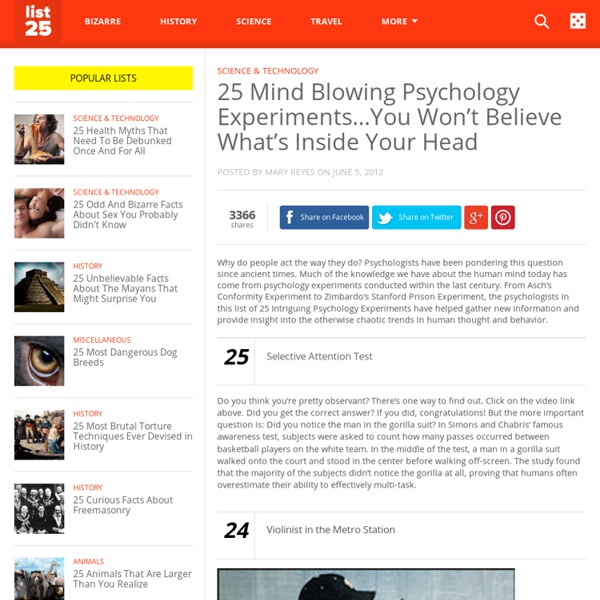 25 Mind Blowing Psychology Experiments...You Won't Believe What's Inside Your Head