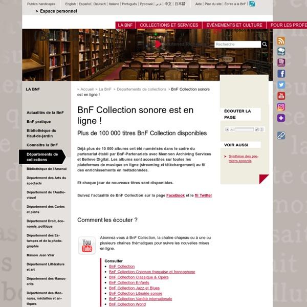 BnF Collection sonore est en ligne !