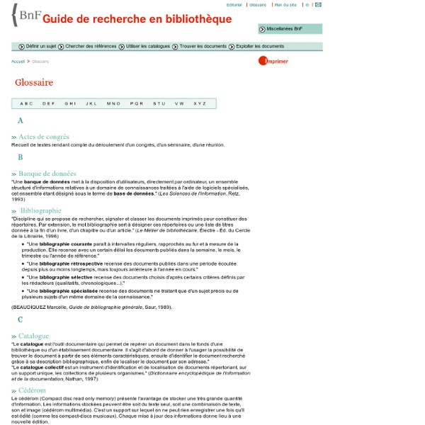 Glossaire BNF