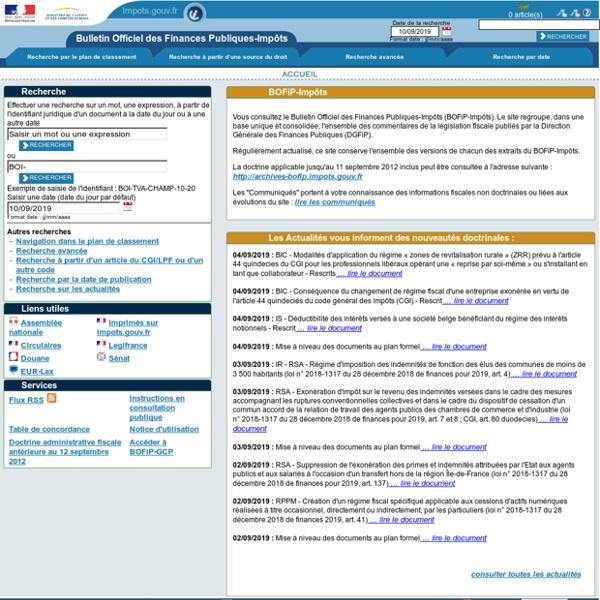 Le BOFIP - Bulletin Officiel des Finances Publiques