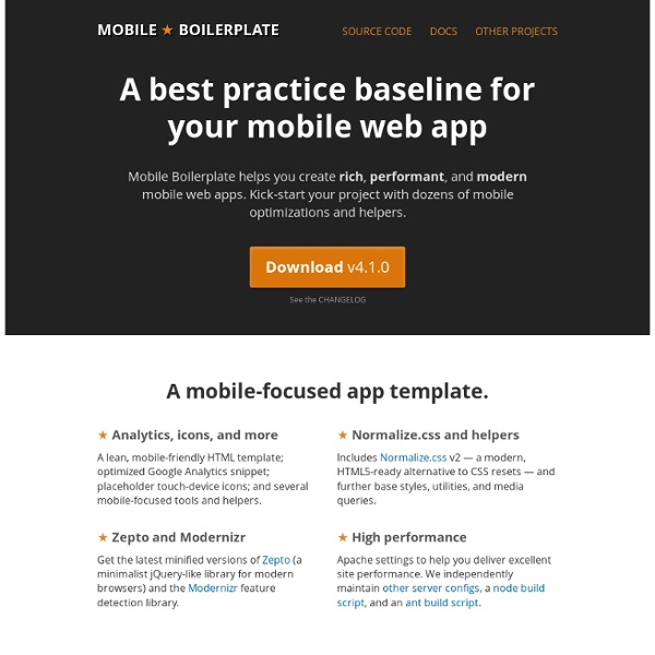 Mobile Boilerplate: A best practice baseline for your mobile web app