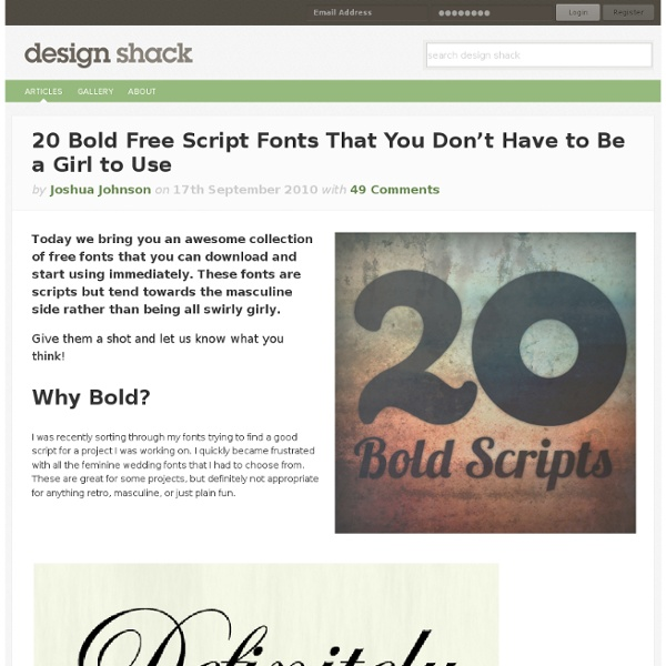 20 Bold Free Script Fonts That You Don't Have to Be a Girl to Use