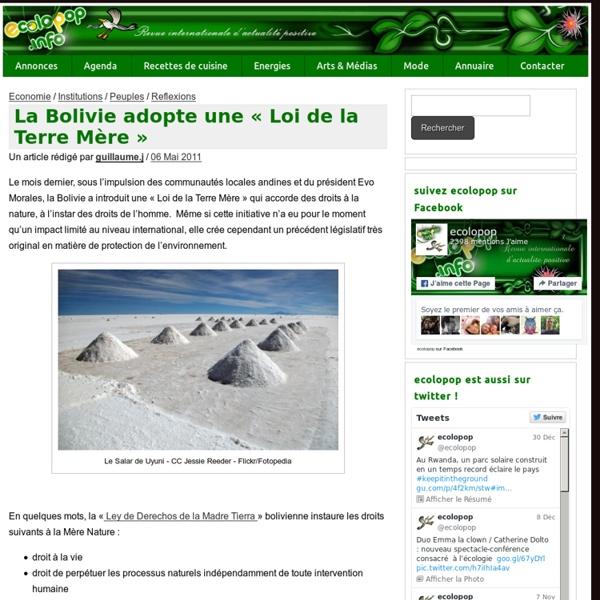 "La Bolivie adopte une ""Loi de la Terre Mère"" » ecoloPop"