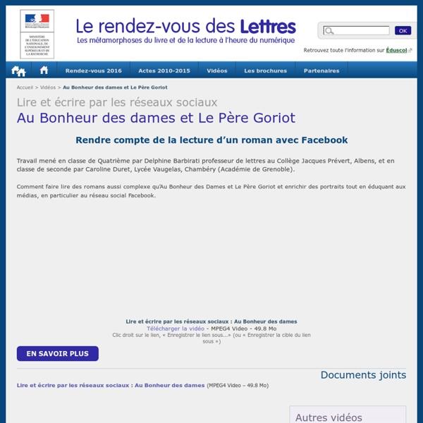 Au Bonheur des dames et Le Père Goriot (D. Barbirati et C. Duret PNF Lettres)