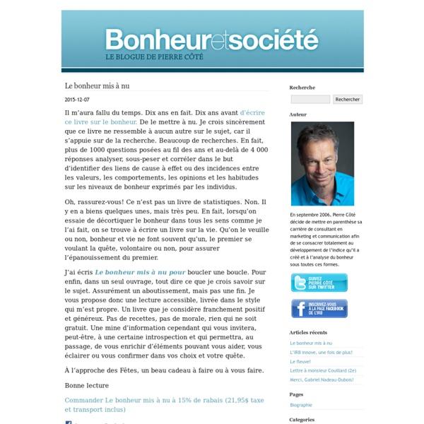 Bonheur et société : Le blogue de Pierre Côté