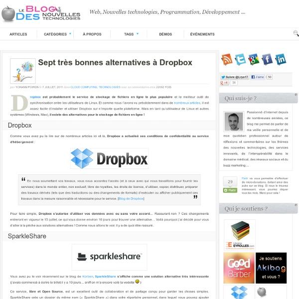 Sept très bonnes alternatives à Dropbox