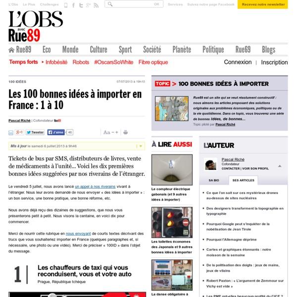 Les 100bonnes idées à importer en France (1à 10)