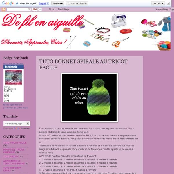 De Fil En Aiguille: TUTO BONNET SPIRALE AU TRICOT FACILE