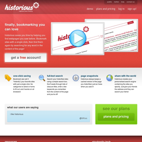 Bookmarking done right: historious, your personal search engine - historious