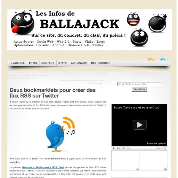 Deux bookmarklets pour créer des flux RSS sur Twitter